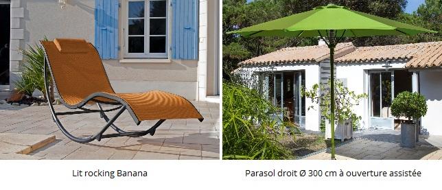 Bons plans en mobilier de jardin lit de soleil ou parasol