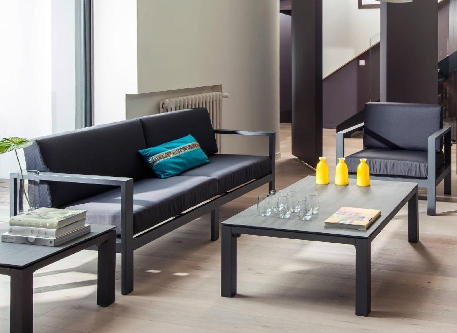 Set lounge Castille avec canapé, 2 fauteuils et table basse