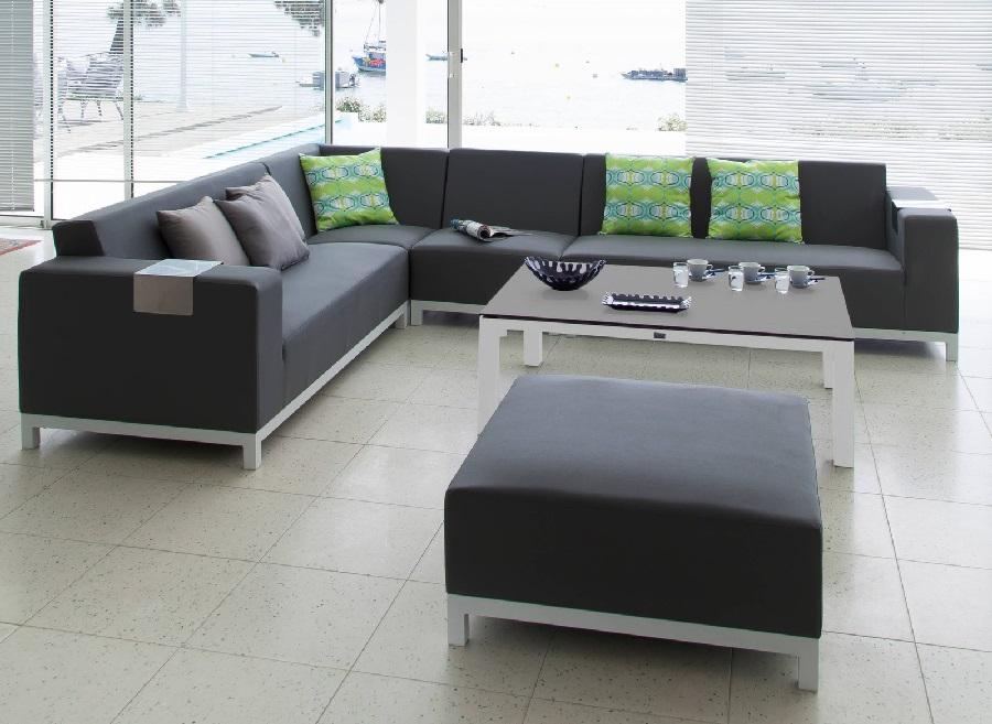 Set lounge belle-île avec canapé d'angle et table basse