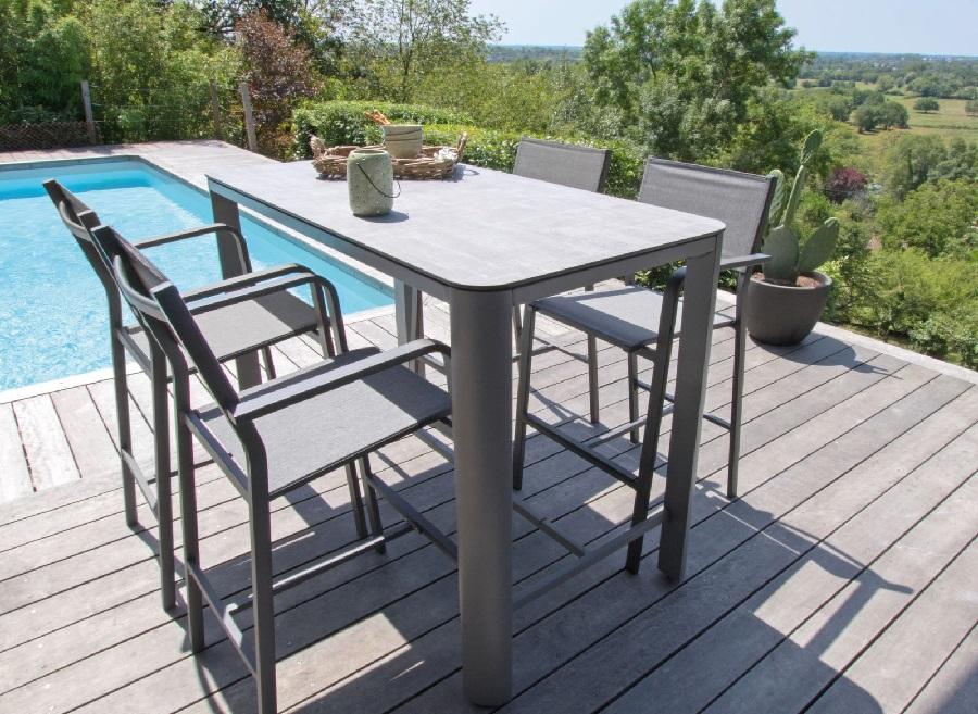 mobilier de jardin pratique et confortable table haute éole