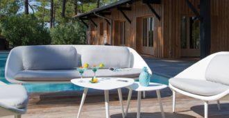 mobilier de jardin blanc canapé phénix