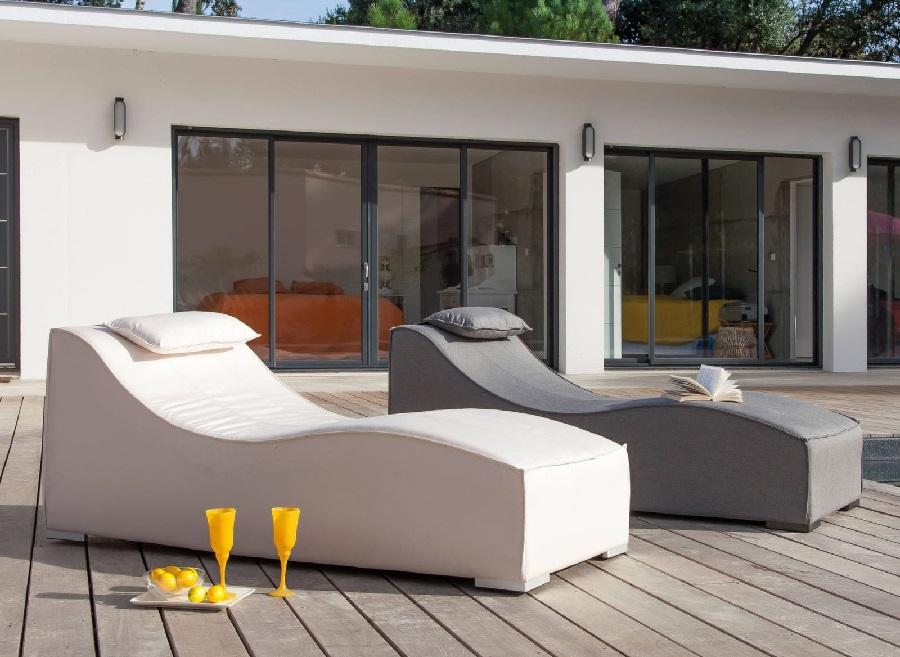 mobilier de jardin design lit de soleil freeze