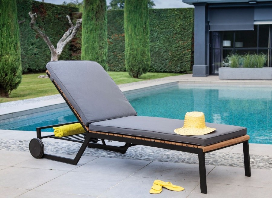 Mobilier de jardin bois et métal lit de soleil Rocha