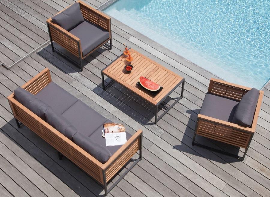 Mobilier de jardin bois et métal salon de détente Végas