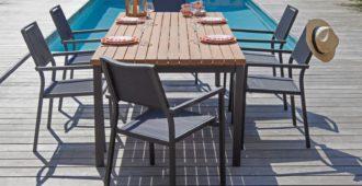 Mobilier de jardin bois et métal table Végas