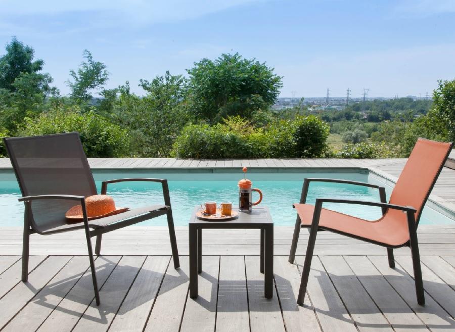 mobilier de jardin orange ensemble détente palma proloisirs