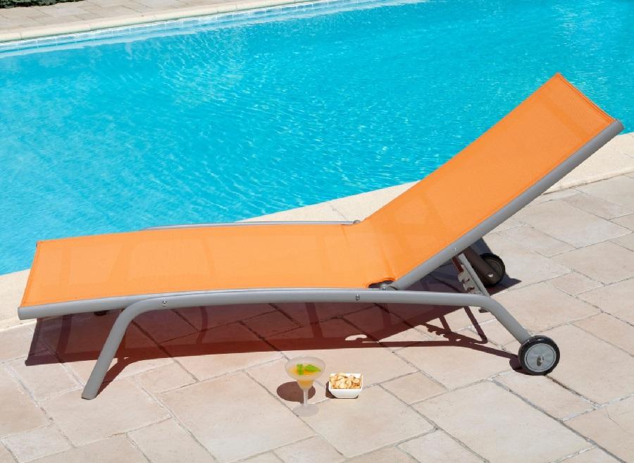 mobilier de jardin orange lit de soleil prima proloisirs