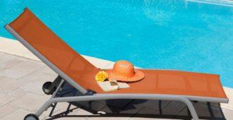 mobilier de jardin orange lit de soleil proloisirs