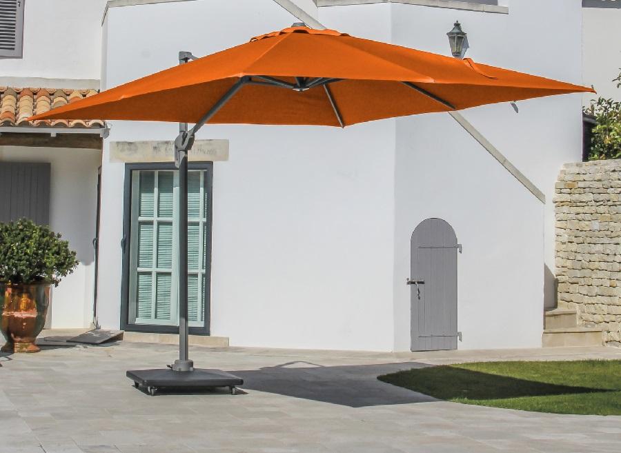 mobilier de jardin orange parasol déporté Elios proloisirs