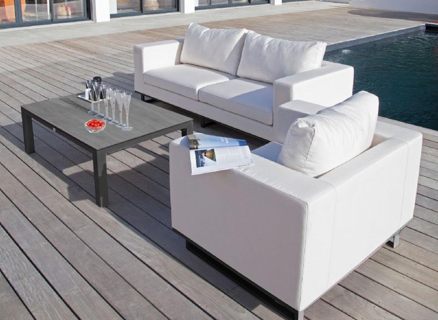 meubles de jardin blancs fauteuil égio Proloisirs