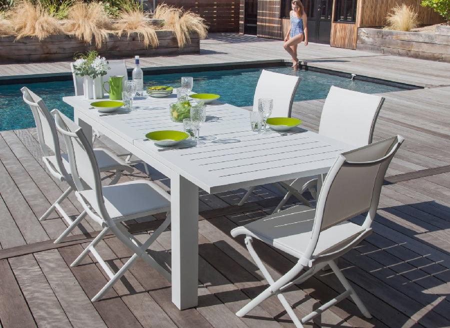 meubles de jardin blancs table aurore chaise élégance Proloisirs