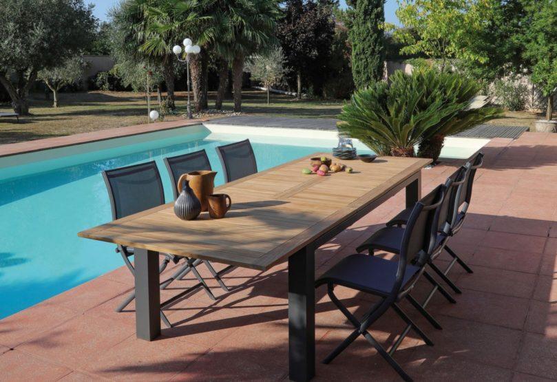 grande table de jardin flo alu et teck proloisirs
