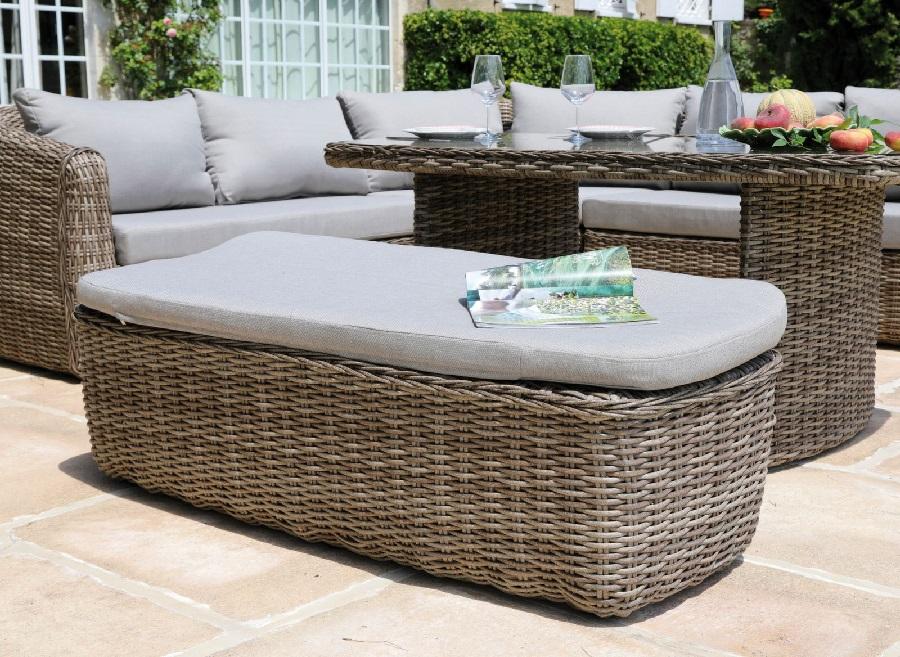 salon de jardin en résine tressée canapé d'angle New York avec banc et table proloisirs
