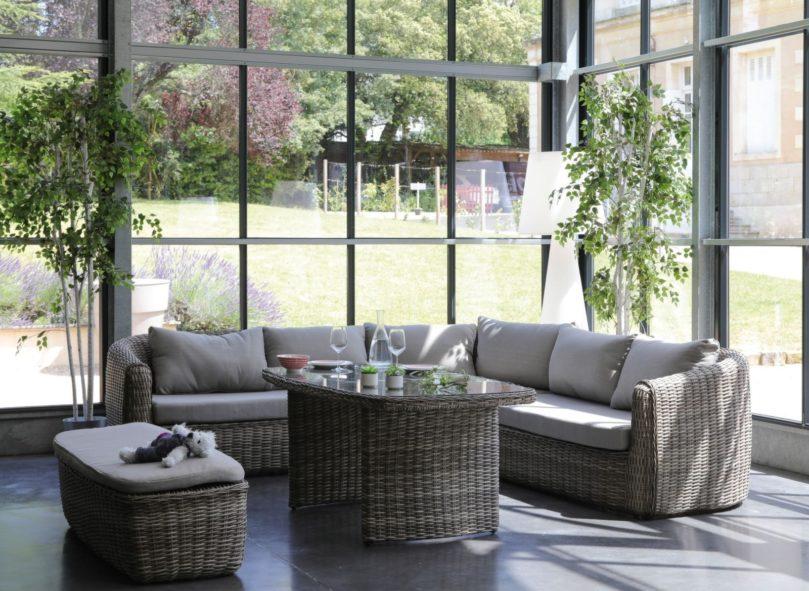 salon de jardin en résine tressée canapé d'angle New York avec table et banc proloisirs