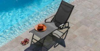 mobilier de piscine lit de soleil fuji argent Proloisirs