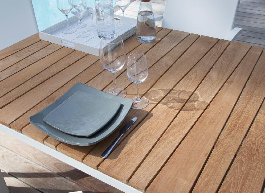 table bois et métal Zebra avec plateau teck proloisirs