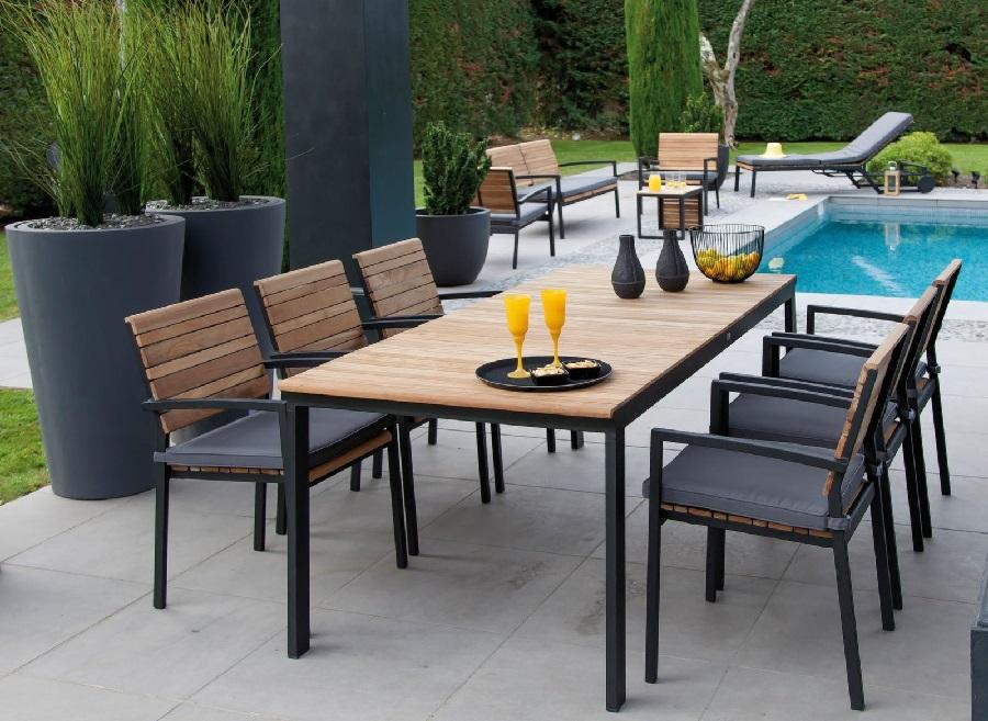 table bois et métal rocha avec plateau teck proloisirs
