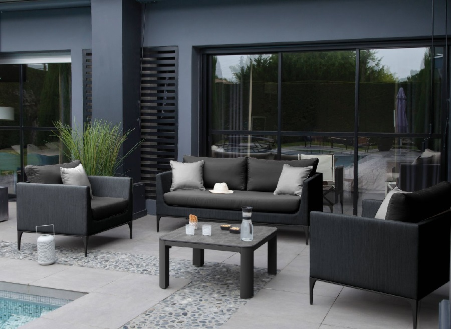 mobilier de jardin haut de gamme canapé 2 places austin proloisirs